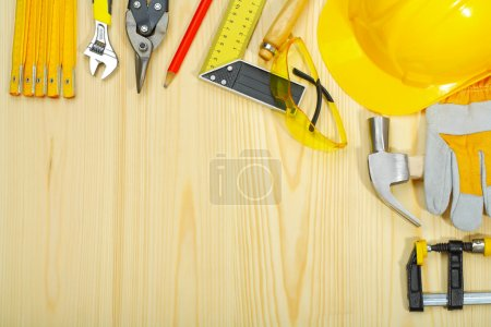 Copyspace of construction tools on wooden boards