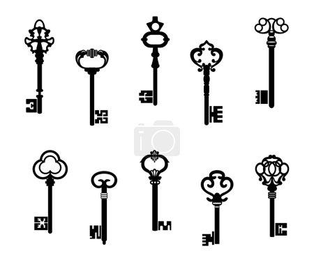 Illustration pour Anciennes clés antiques dans un style vintage. illustration vectorielle - image libre de droit