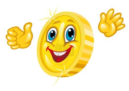 Lächelnde Goldmünze