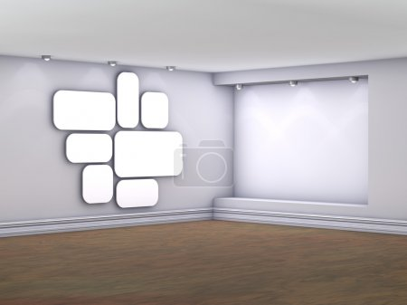 Photo for Empty interior with niche, spotlights and blank pictures on the wall - Royalty Free Image