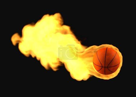 Flying flaming basketball