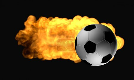 Photo for Flaming flying soccer ball on a black background - Royalty Free Image