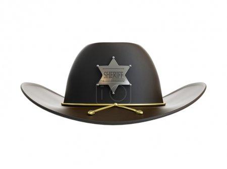 Photo pour Chapeau de shérif sur fond blanc - image libre de droit