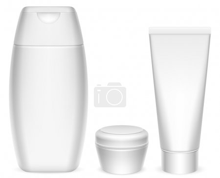 Illustration pour Trois contenants de cosmétiques blancs vierges . - image libre de droit