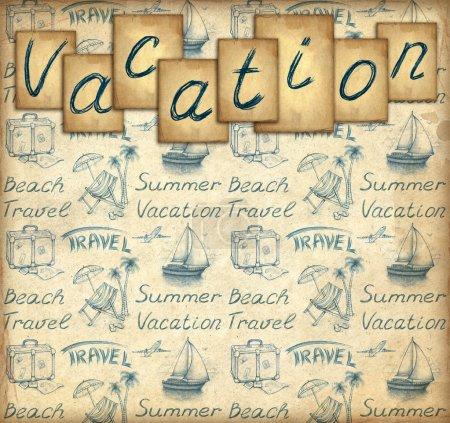 Photo pour Fond d'écran avec des vacances texte et illustrations - image libre de droit
