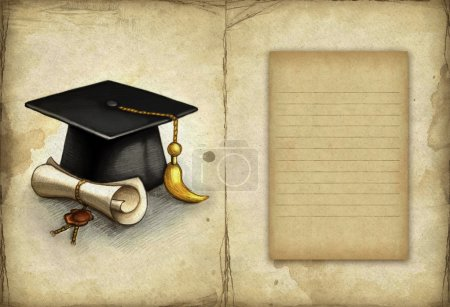 Photo for Old paper with drawing of graduation cap and diploma - Royalty Free Image