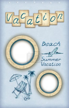 Background with photo frames and vacation illustrations
