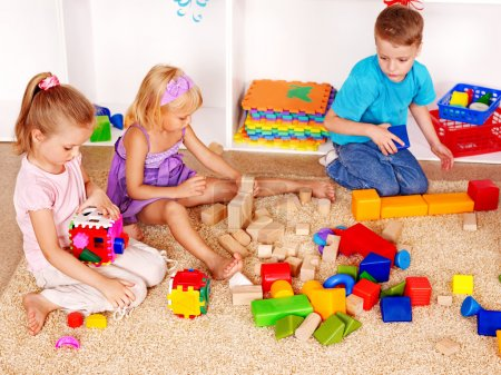 Children playing construction set