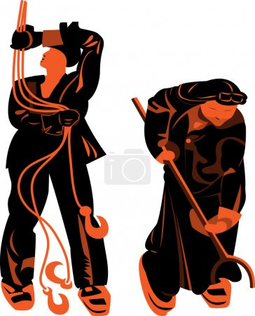 silhouettes de professions masculines de travail