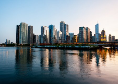 Photo for Skyline of Chicago from the Navy Pier at sunset - Royalty Free Image