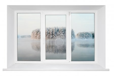 White plastic triple door window with trunquil view