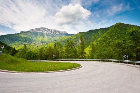 Photo for Winding Paved Road in the Italian Alps - Royalty Free Image