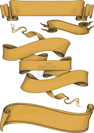 Illustration for Ribbon banners engravin style. Color. Isolated on white - Royalty Free Image
