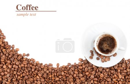 Photo for Cup and coffee beans isolated over white background - Royalty Free Image