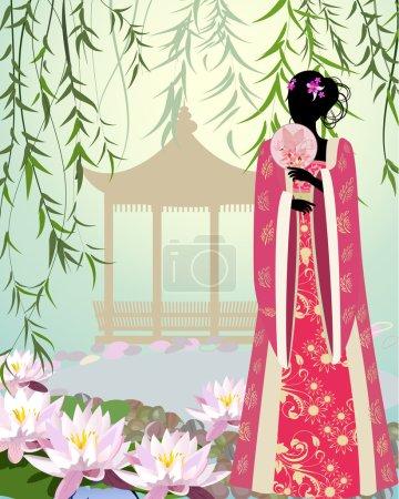 Illustration pour Fille chinoise un paysage - image libre de droit