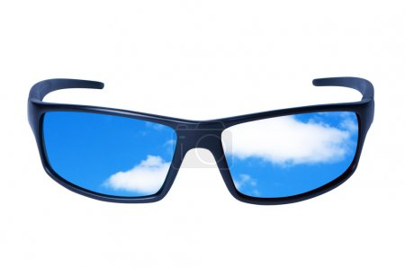 Glasses with sky and clouds.