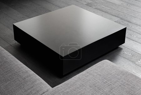 Photo for Black square coffee-table, modern interior detail - Royalty Free Image