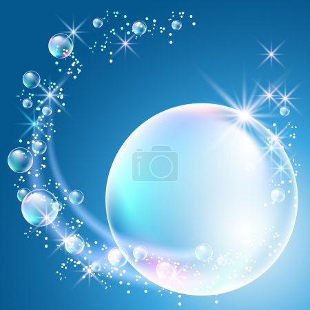 Illustration for Glowing background with bubbles and stars - Royalty Free Image