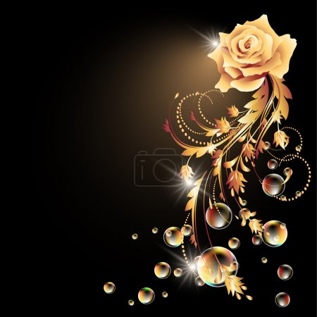 Illustration for Glowing background with golden rose, star and bubbles - Royalty Free Image