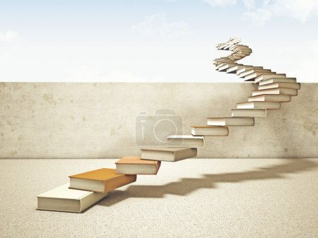 Photo for 3d image of books stair and blue sky - Royalty Free Image
