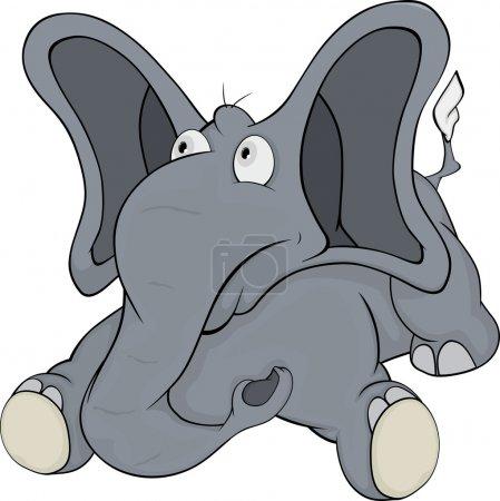 Illustration pour Le petit éléphant joyeux veau avec les grandes oreilles - image libre de droit