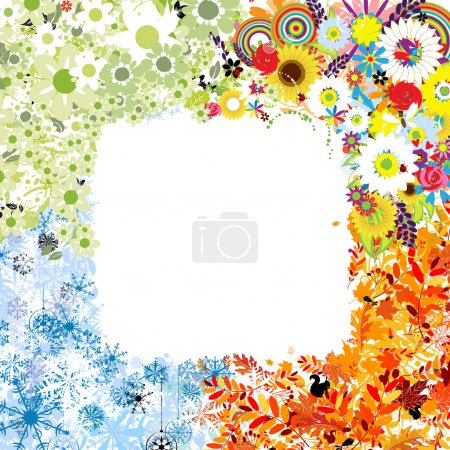 Four seasons frame - spring, summer, autumn, winter.