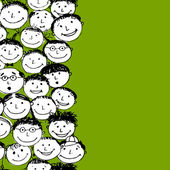 Crowd of funny peoples seamless background for your design