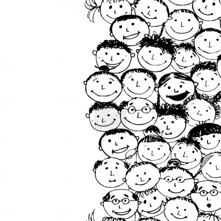 Illustration for Crowd of funny peoples, seamless background for your design - Royalty Free Image