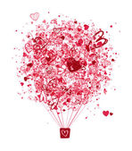Air love concept balloon with hearts for your design