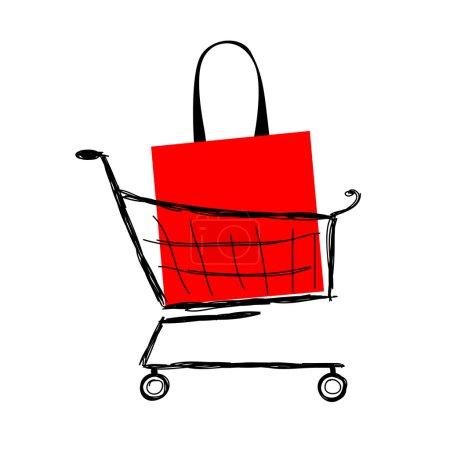 Illustration pour Sac rouge dans le panier pour votre conception - image libre de droit