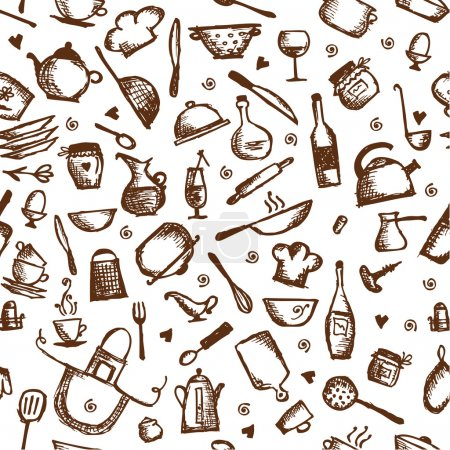 Illustration for Kitchen utensils sketch, seamless pattern - Royalty Free Image
