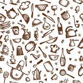 Kitchen utensils sketch seamless pattern