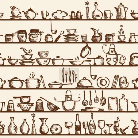 Illustration for Kitchen utensils on shelves, sketch drawing seamless pattern - Royalty Free Image