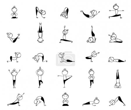 practicing yoga, 25 poses for your design
