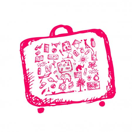 Illustration for Summer vacations sketch, suitcase for your design - Royalty Free Image
