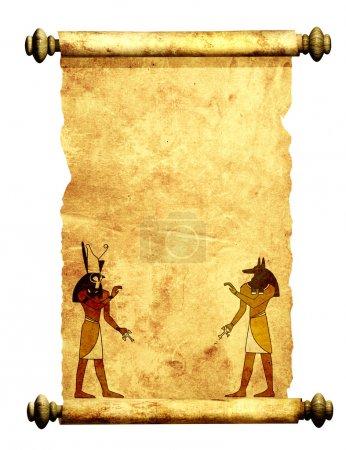 Photo pour Faire défiler des images de dieux égyptiens - anubis et horus. objet isolé sur blanc - image libre de droit