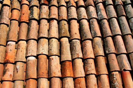 Texture of old clay tiles