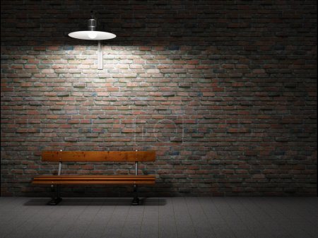 Photo for Dirty brick wall illuminated by lamp - Royalty Free Image