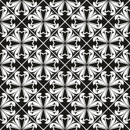 Seamless geometrical gothic floral vector pattern with cross