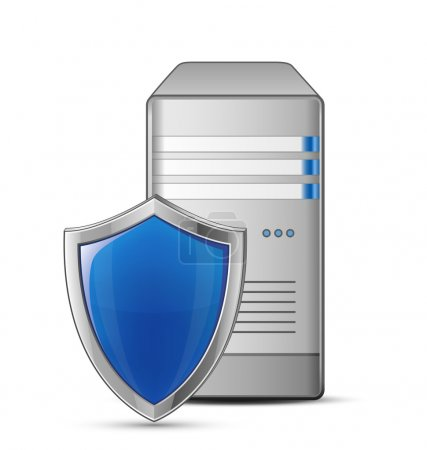 Illustration pour Concept de sécurité informatique. Serveur et blindage. Illustration vectorielle du serveur informatique protégé - image libre de droit