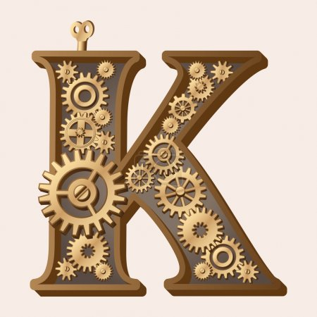Illustration for Mechanical alphabet made from gears. Letter k - Royalty Free Image