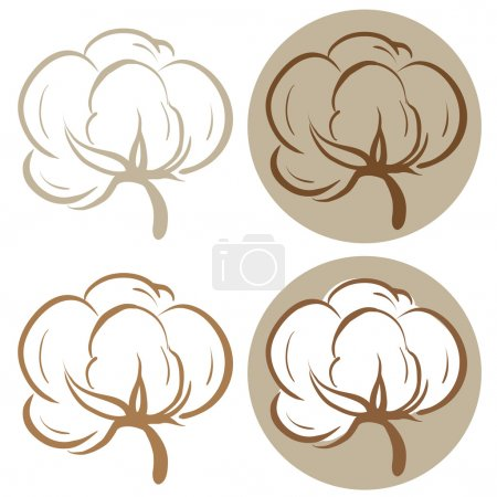 Illustration for 100% cotton icons. Set of four label illustrations - Royalty Free Image