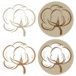 100% cotton icons. Set of four label illustrations...