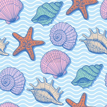 Illustration for Sea seamless pattern. Original hand drawn illustration in vintage style - Royalty Free Image