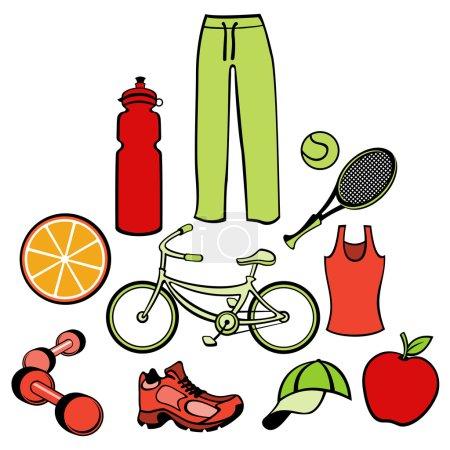 Illustration pour Illustration vectorielle d'accessoires pour femme liés à un mode de vie sain . - image libre de droit