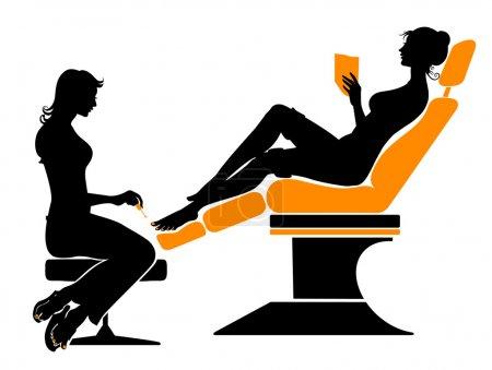 Illustration pour Illustration vectorielle de la belle silhouette féminine lors de sa visite au spa . - image libre de droit
