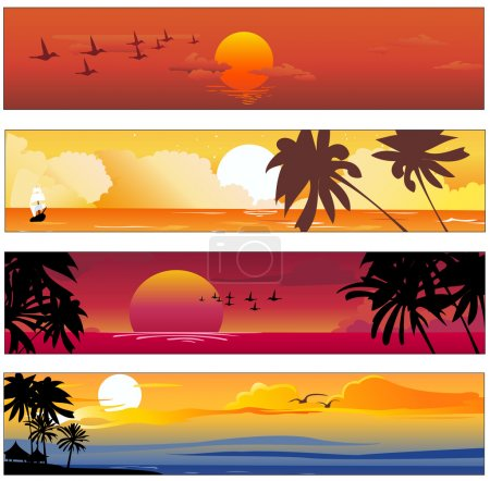 Illustration for Vector illustration of Colorful banners set with tropical summer designs - Royalty Free Image