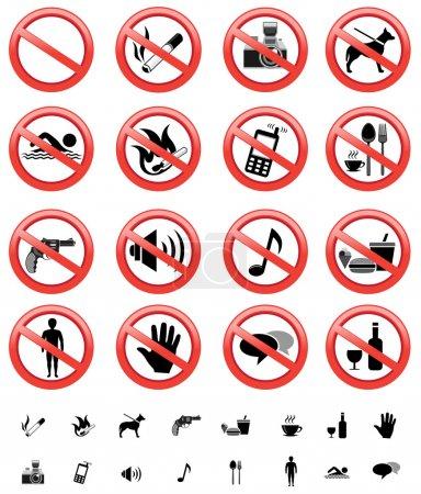 Forbidden signs set