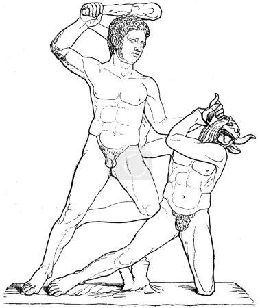Theseus and Minotaur, antique sculpture, Villa Alb...