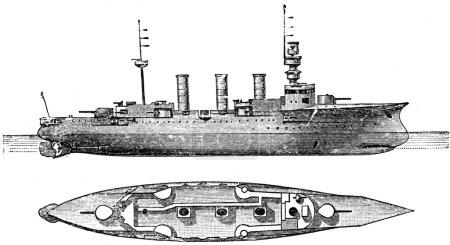 Photo pour Victoria-Louise, un croiseur blindé allemand long voyage, Classe 2, 1897, 5650 tonnes, 105 mètres - image libre de droit